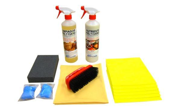 Kit limpia tapicerías piel y cuero profesional 750 mL.