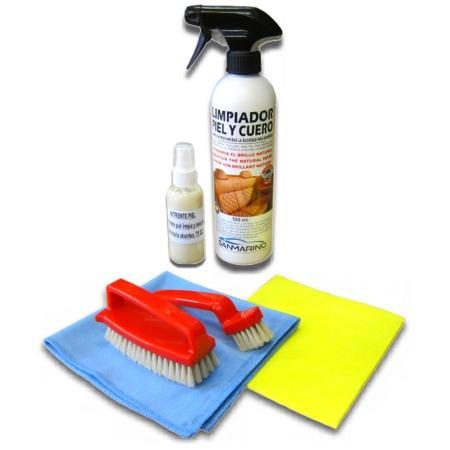 Kit de limpieza de tapicerías de piel y cuero 500 ml.